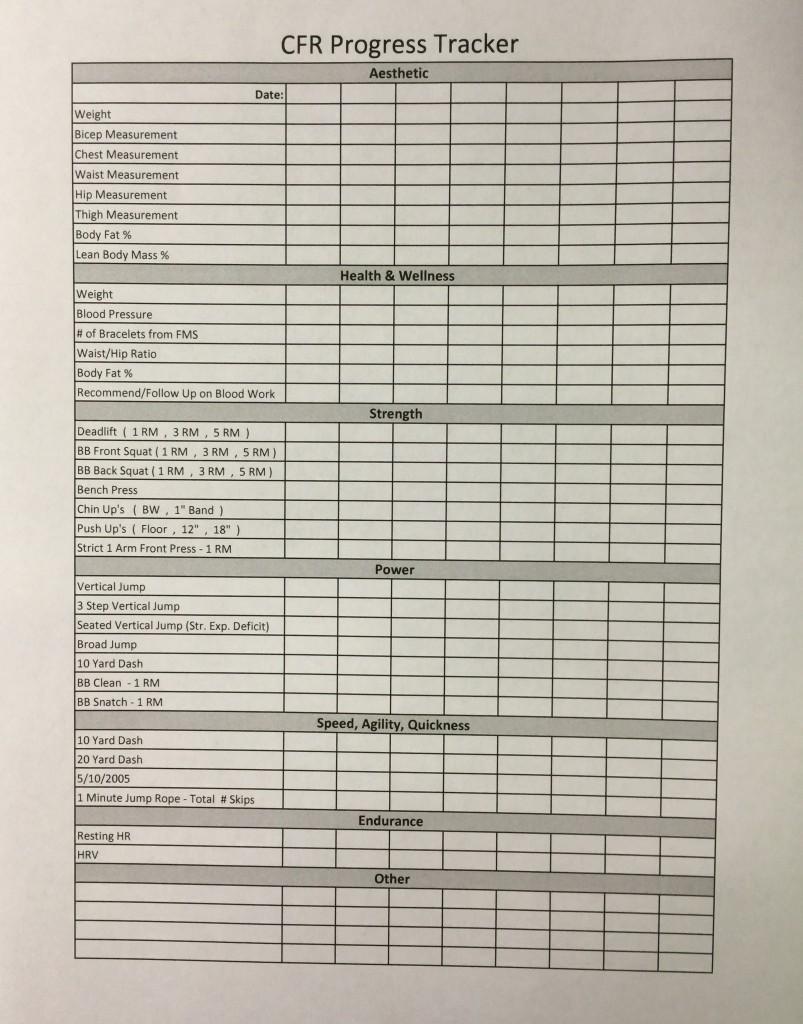CFR Progress Tracker Sheet